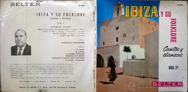 Discos de vinilo: Escuadra de Sonadors. Ibiza y su folklore. Cantops y danzas. Belter 1962 ep doble cubierta + encarte - Foto 2 - 54726145