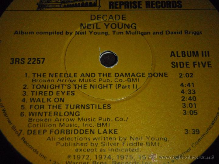 Discos de vinilo: NEIL YOUNG ( DECADE ) USA 1976 LP33 TRIPLE REPRISE RECORDS - Foto 8 - 1129198
