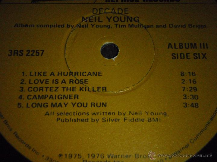 Discos de vinilo: NEIL YOUNG ( DECADE ) USA 1976 LP33 TRIPLE REPRISE RECORDS - Foto 9 - 1129198