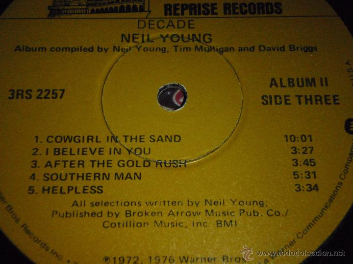 Discos de vinilo: NEIL YOUNG ( DECADE ) USA 1976 LP33 TRIPLE REPRISE RECORDS - Foto 10 - 1129198
