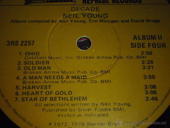 Discos de vinilo: NEIL YOUNG ( DECADE ) USA 1976 LP33 TRIPLE REPRISE RECORDS - Foto 11 - 1129198