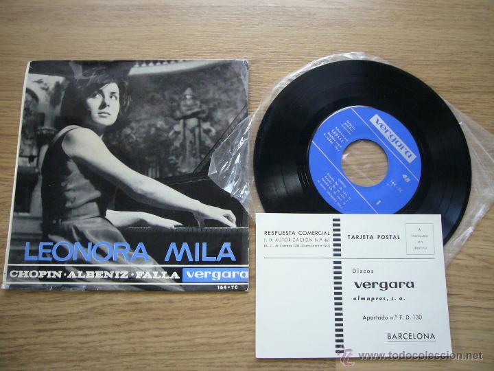 LEONORA MILA EP VERGARA 1964 CHOPIN ISAAC ALBENIZ MANUEL FALLA PIANO SCHUMANN MENDELSSOHN BACH (Música - Discos de Vinilo - EPs - Clásica, Ópera, Zarzuela y Marchas)