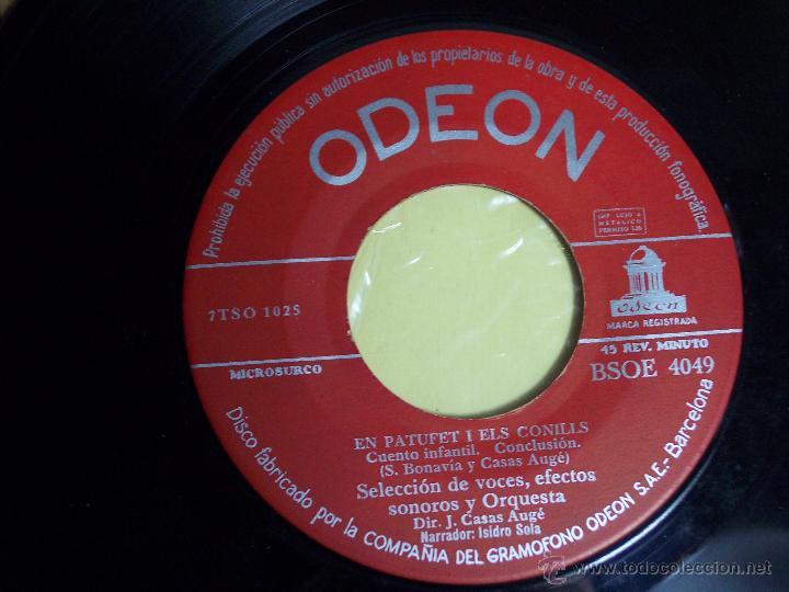 Discos de vinilo: SINGLE - EN PATUFETI ELS CONILLS (CUENTO INFANTIL EN CATALÁN) ODEON-1958 - Foto 3 - 54786944