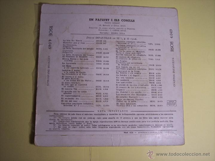 Discos de vinilo: SINGLE - EN PATUFETI ELS CONILLS (CUENTO INFANTIL EN CATALÁN) ODEON-1958 - Foto 4 - 54786944