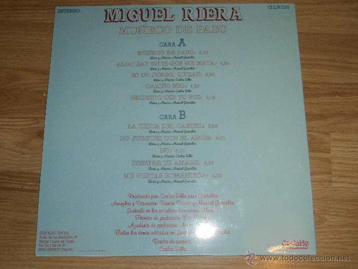 Discos de vinilo: Miguel Riera - LP - Muñeco de Paso - 1988 - Gastaldo - Completamente nuevo - Raro - Foto 2 - 54829193