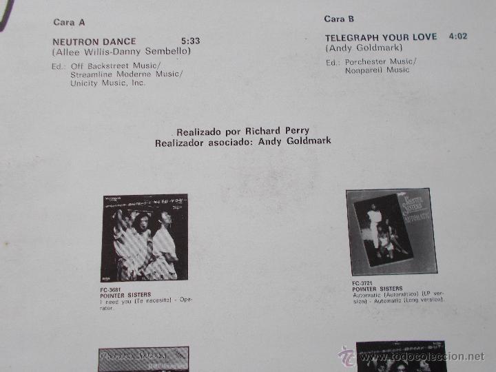 Discos de vinilo: POINTER SISTERS. NEUTRON DANCE. BANDA SONORA DE LA PELICULA SUPERDETECTIVE EN HOLLYWOOD. MAXI 12 - Foto 3 - 54839933