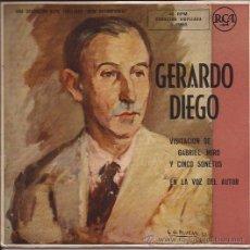Discos de vinilo: SINGLE EP-GERARDO DIEGO VISITACION DE GABRIEL MIRO Y CINCO SONETOS RCA 3-25003 SPAIN SIN FECHA. Lote 54860865