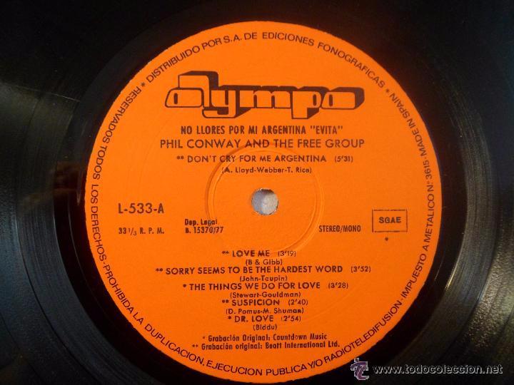 Discos de vinilo: EVITA. NO LLORES POR MI ARGENTINA. OLYMPO. LP 1977 - Foto 5 - 54920650