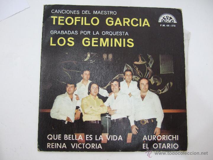 ORQUESTA LOS GEMINIS - CANCIONES DEL MAESTRO TEOFILO GARCIA - PROMOCIONAL 1974 - BERTA (Música - Discos de Vinilo - EPs - Orquestas)