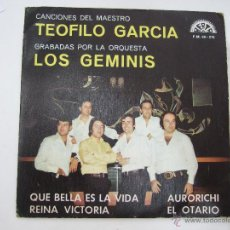 Discos de vinilo: ORQUESTA LOS GEMINIS - CANCIONES DEL MAESTRO TEOFILO GARCIA - PROMOCIONAL 1974 - BERTA. Lote 54924339