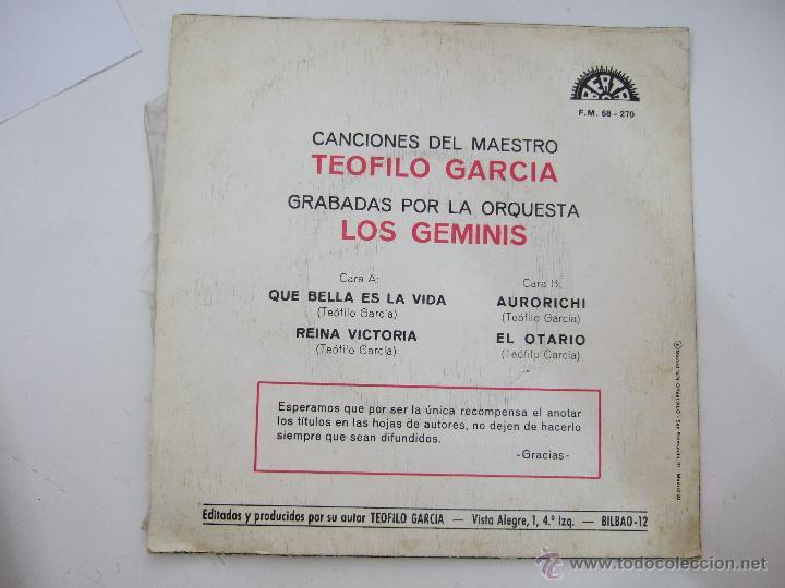 Discos de vinilo: ORQUESTA LOS GEMINIS - CANCIONES DEL MAESTRO TEOFILO GARCIA - PROMOCIONAL 1974 - BERTA - Foto 2 - 54924339