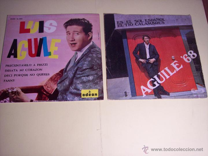 LOTE DE 1 EP Y 1 SINGLE DE LUIS AGUILE (PREGUNTASELO A FRIZZI /+3 / ES EL SOL ESPAÑOL /+1) 1964-1968 (Música - Discos de Vinilo - EPs - Solistas Españoles de los 50 y 60)