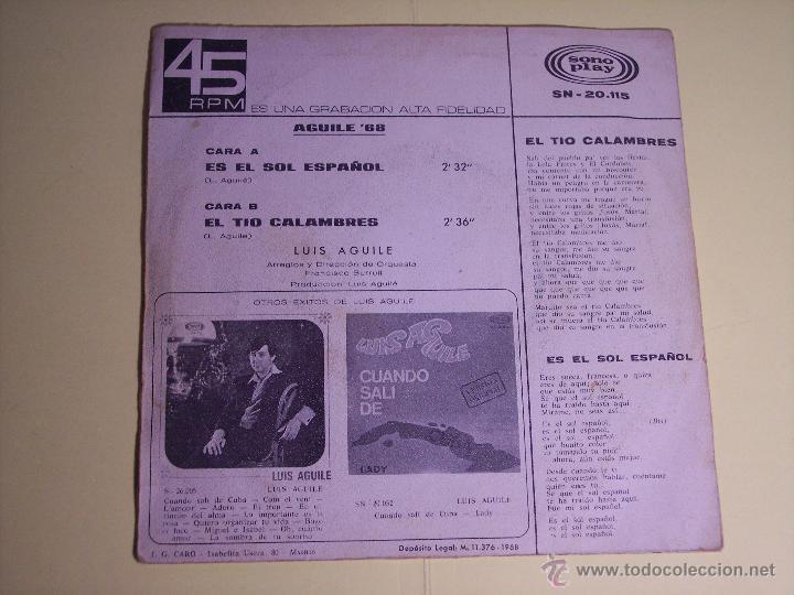 Discos de vinilo: LOTE DE 1 EP Y 1 SINGLE DE LUIS AGUILE (PREGUNTASELO A FRIZZI /+3 / ES EL SOL ESPAÑOL /+1) 1964-1968 - Foto 7 - 54951226