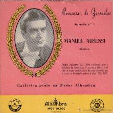 Discos de vinilo: MANUEL AUSENSI,ROMANZAS DE ZARZUELA SELECCION Nº 3 DEL 62. Lote 55010090