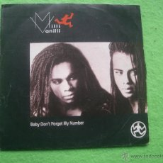 Disques de vinyle: MILI VANILLI-BABY DON´T FORGET MY NUMBER. SINGLE. Lote 55012833
