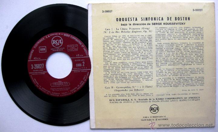 Discos de vinilo: Orquesta Sinfónica De Boston, Dir:Serge Koussevitzky - Grieg / Satie - EP RCA 1955 BPY - Foto 2 - 55029021