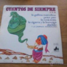 Discos de vinilo: CUENTOS DE SIEMPRE VOL 4. LA GALLINA MARCELINA. PETER PAN.LA CENICIENTA,LA CIGARRA Y LA HORMIGA, . Lote 55037658