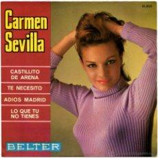 Discos de vinil: CARMEN SEVILLA – CASTILLITO DE ORO - EP SPAIN 1967 - BELTER 51.852. Lote 55044223
