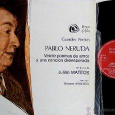 Discos de vinilo: LP-VINILO VERSOS Y COPLAS PABLO NERUDA / VEINTE POEMAS DE AMOR 33 RPM. Lote 55047962