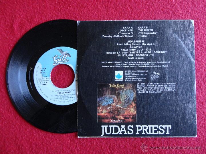 Discos de vinilo: JUDAS PRIEST - DECEIVER / THE RIPPER // SINGLE // 1976 // SPAIN // ERRATA EN PORTADA // COMO NUEVO - Foto 2 - 55056620
