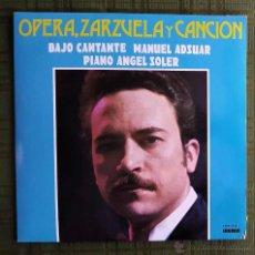 Discos de vinilo: LP ÓPERA, ZARZUELA Y CANCIÓN. VOZ: MANUEL ADSUAR. Lote 55087879