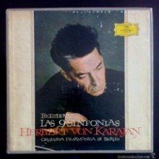 Discos de vinilo: BEETHOVEN - LAS 9 SINFONÍAS - KARAJAN - ORQUESTA FILARMÓNICA DE BERLÍN - CAJA 8 LPS - ED, NUMERADA . Lote 55116799
