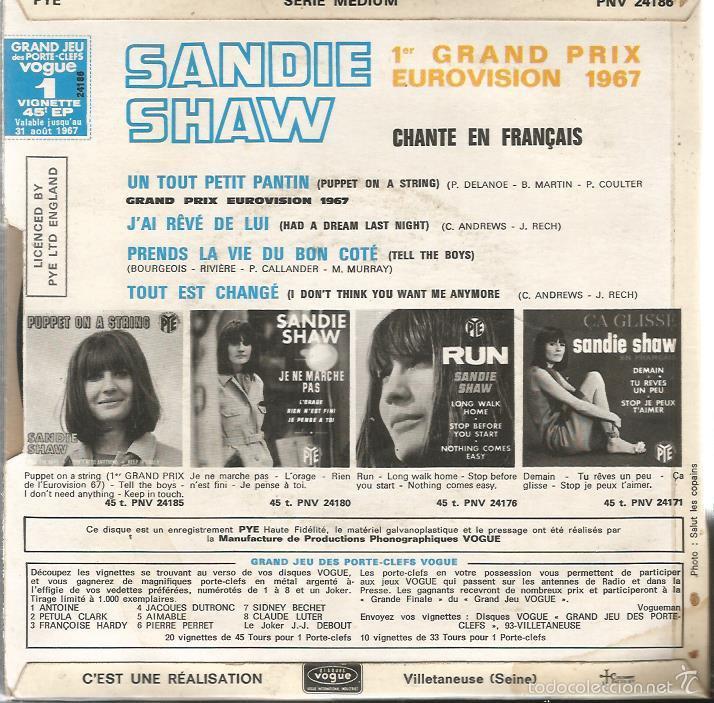 Discos de vinilo: EP EUROVISION : SANDIE SHAW CHANTE EN FRANÇAIS : PUPPET ON A STRING - Foto 2 - 55144278