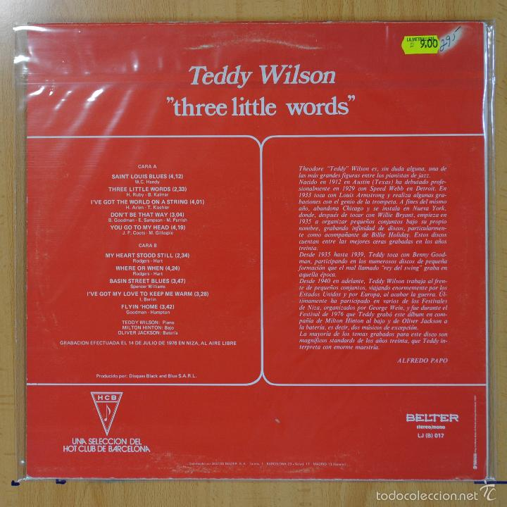 Discos de vinilo: TEDDY WILSON - THREE LITTLE WORDS - LP - Foto 2 - 55182257