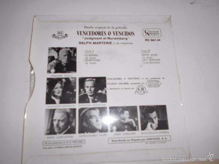Discos de vinilo: VENCEDORES Y VENCIDOS-EP BSO DEL FILM -1962 - Foto 2 - 55384307