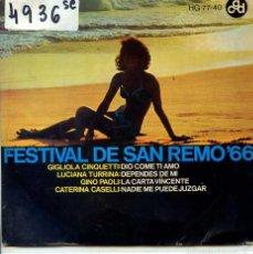 Dischi in vinile: FESTIVAL DE SAN REMO 1966 /GINO PAOLI / LA CARTA VINCENTE + 3 (EP 1966). Lote 55397083