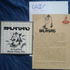 Discos de vinilo: MALARIANS: EL FUGITIVO / BLACK PUSSY SKA, SINGLE PROMO 1991 + 2 HOJAS PROMO. VG+/VG+. Lote 55786405