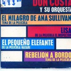 Disques de vinyle: DON COSTA / EL MILAGRO DE ANA SULLIVAN / EL INSPECTOR + 2 (EP 1963). Lote 55870002