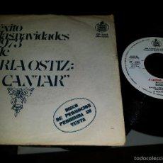 Discos de vinilo: MARIA OSTIZ A CANTAR DISCO DE PROMOCIÓN . Lote 55995258
