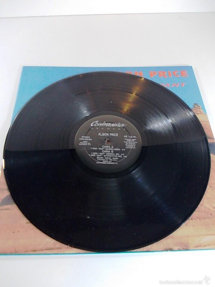 Discos de vinilo: ALISON PRICE I NEED I WANT MAXI SINGLE - Foto 4 - 55998618