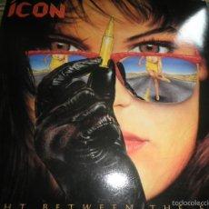 Discos de vinilo: ICON - RIGHT BETWEEN THE EYES LP - ORIGINAL U.S.A. - ATLANTIC RECORDS 1989 - MUY NUEVO (5) -. Lote 56006976