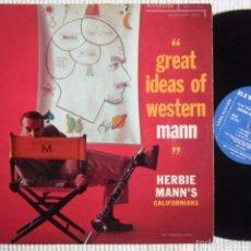 Discos de vinilo: HERBIE MANN'S CALIFORNIANS '' GREAT IDEAS OF WESTERN MANN '' LP ORIGINAL USA 1957. Lote 56099432