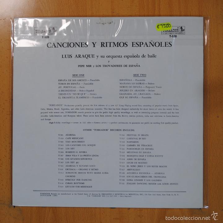 Discos de vinilo: LUIS ARAQUE Y SU ORQUESTA ESPAOLA DE BAILE - CANCIONES Y RITMOS ESPAOLES - LP - Foto 2 - 56123851