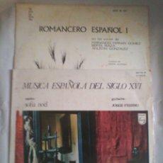 Discos de vinilo: LOTE 2 DISCOS DE VINILO: ROMANCERO ESPAÑOL Y MÚSICA ESPAÑOLA DEL SIGLO XVI. Lote 56159169