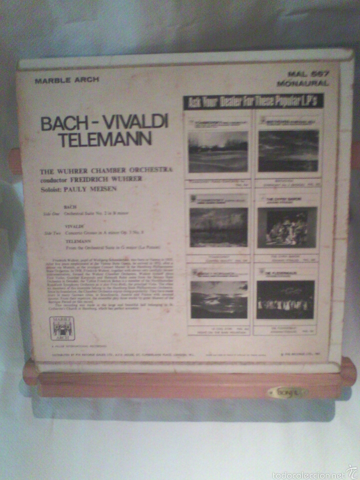 Discos de vinilo: Disco De Vinilo BACH, VIVALDI, TELEMANN (Edición Monoaural) - Foto 2 - 56175363
