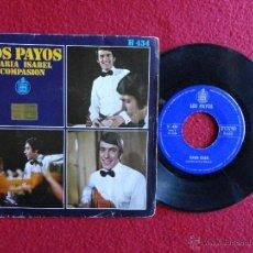 Discos de vinilo: LOS PAYOS - MARÍA ISABEL / COMPASION // SINGLE // 1969. Lote 56192777
