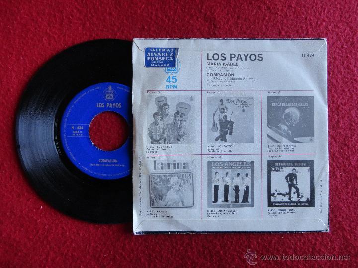 Discos de vinilo: LOS PAYOS - MARÍA ISABEL / COMPASION // SINGLE // 1969 - Foto 2 - 56192777