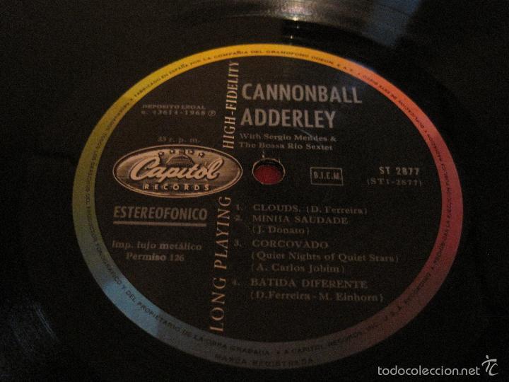 Discos de vinilo: LP-CANNONBALL ADDERLEY & THE BOSSA RIO SEXTET CAPITOL 2877 SPAIN 1968 JAZZ SERGIO MENDES - Foto 2 - 56209165
