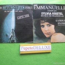 Discos de vinilo: BANDA SONORA ORIGINAL (2 SG) STAR WARS/EMMANUELLE 2 SINGLES SPAIN 1976 PDELUXE. Lote 56219096