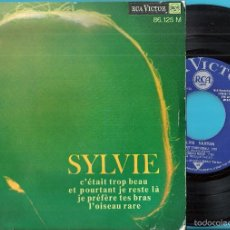 Discos de vinilo: SYLVIE VARTAN: C´ÉTAIT TROP BEAU / ET POURTANT JE JE RESTE LÀ / JE PRÉFÈRE TES BRAS / L´OISEAU RARE. Lote 56257528