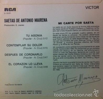 Discos de vinilo: ANTONIO MAIRENA - SAETAS - 1969 - Foto 2 - 56243635
