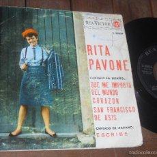 Discos de vinilo: RITA PAVONE EP QUE ME IMPORTA DEL MUNDO MADE IN SPAIN 1965. Lote 56297686
