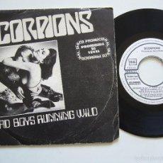 Discos de vinilo: SCORPIONS SINGLE BAD BOYS RUNNING WILD EDICIÓN ESPAÑOLA PROMOCIONAL. Lote 56301525