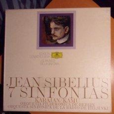 Discos de vinilo: JEAN SIBELIUS. 7 SINFONIAS. KARAJAN / KAMU. ORQUESTA FILARMONICA DE BERLIN. ORQUESTA SINFONICA DE LA. Lote 56306703