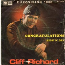 Discos de vinilo: CLIFF RICHARD - CONGRATULATIONS - SINGLE . Lote 56328126