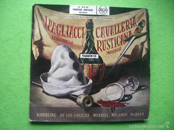 IPAGLIACCI LEON CABALLO / CAVALLERIA RUSTICANA MASCAGNI DOBLE EP GATEFOLD DURACION AMPLIADA RCA (Música - Discos de Vinilo - EPs - Clásica, Ópera, Zarzuela y Marchas)